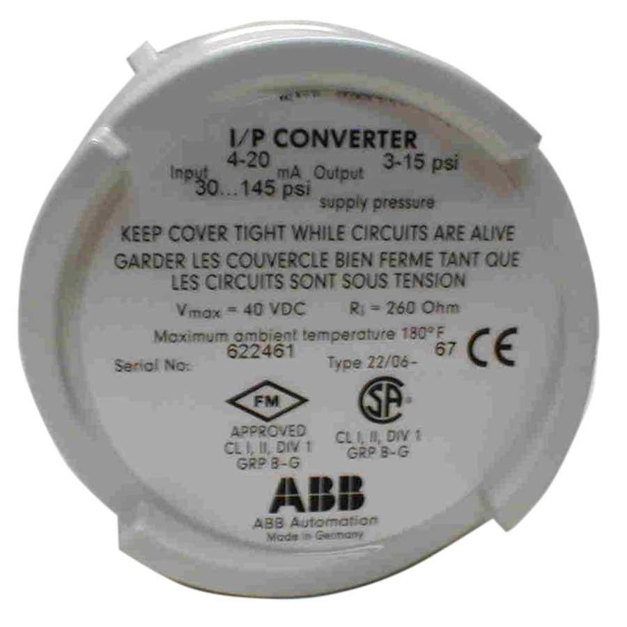 ABB Type 22//06-65 I//p Converter 4-20 MA 3-15 PSI Current Pressure Transducer